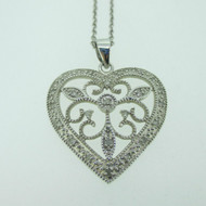 Sterling Silver Filigree Heart Diamond Pendant Necklace