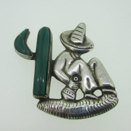 Sterling Silver Mexico Man in Sombrero on Cactus Pin Brooch