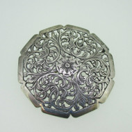 Sterling Silver Filigree Flower Circle Pin Brooch Vintage