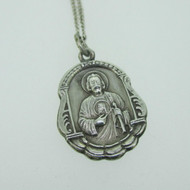 Sterling Silver Catholic Religious Miraculous Medal Jesus Necklace