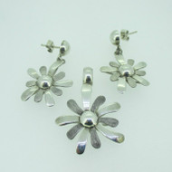 Sterling Silver 950 Flower Daisy Pendant Earring Set