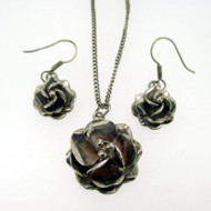 Sterling Silver Taxco Flower 3D Necklace Earring Set