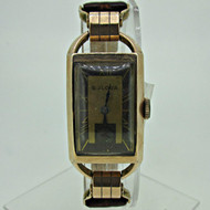Vintage Bulova 7AP 21J 14k Rose Gold Filled Watch with Brown Leather Band (B6886)