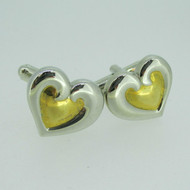 Silver and Gold Tone Heart Shaped Cufflinks