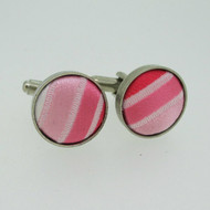 Silver Tone Round Shades of Pink Striped Fabric Cufflinks