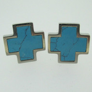 Silver Tone Blue Turquoise Colored Enamel Look Iron Cross Cufflinks
