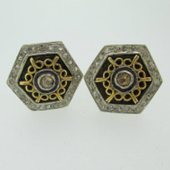 Silver Tone Octagon Shaped Cufflinks with Ruff Stone Embellishment