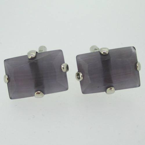 Silver Tone Lavender Purple Stone Cufflinks