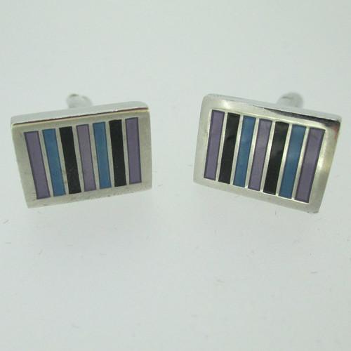 Silver Tone Rectangle Black Aqua Purple Enamel Inlay Cufflinks