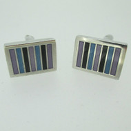 Silver Tone Rectangle Black Aqua Purple Enamel Inlay Cufflinks