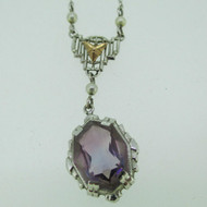 Vintage 10k White Gold Filigree Yellow Gold Accent Necklace Pendant with Purple Stone
