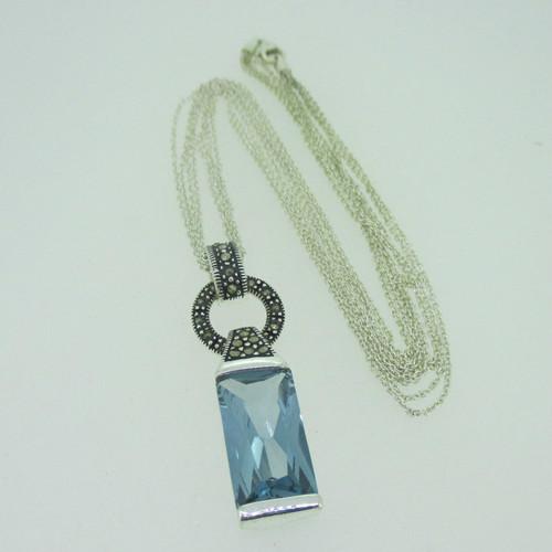 Sterling silver blue topaz marcasite pendant multi strand necklace aloadofball Choice Image