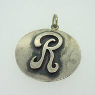 Sterling Silver Monogram Letter Signet Initial R Circle Pendant
