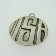 Sterling Silver Monogram Letter Signet Initial ISR Circle Pendant