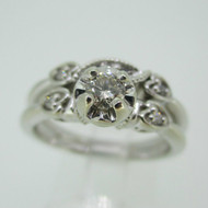 Vintage 14k White Gold Approx .25ct Round Brilliant Cut Diamond Wedding Set Size 8