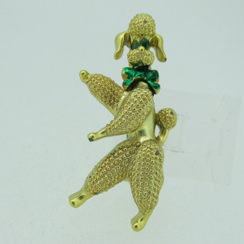 Vintage Gold Tone and Green Eyes Movable Dancing Poodle Brooch Pin