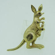 Vintage Gold Tone Movable Mother and Baby Kangaroo Brooch Pin