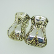 Sterling Silver Large Two Tone Earrings with Heart Gold Overlay Details