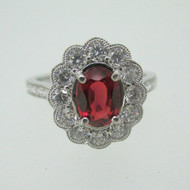 18k White Gold 1.21ct Ruby Ring with .76ct TW Diamond Halo Accents Size 7