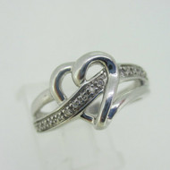 Sterling Silver Heart Diamond Accent Ring Size 7