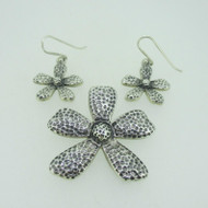 Sterling Silver Flower Daisy Pendant Earring Set