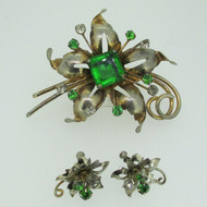 Vintage Sterling Silver Flower Green and Clear Stone Brooch & Earrings