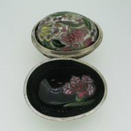 Silver Tone Spring Cloisonne Pink and Purple Case and Egg