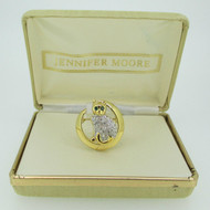 Jennifer Moore Gold Tone Green and Clear Stone Cat Brooch Pin