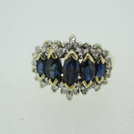 14k Yellow Gold Sapphire Ring with Diamond Accents Size 5 3/4