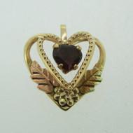 Coleman Company 10k Black Hills Gold Heart Garnet Leaf Pendent Charm