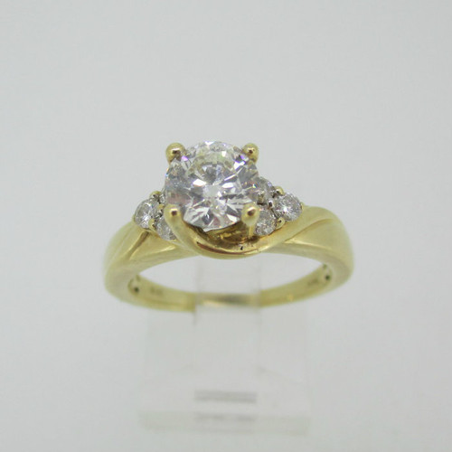 14k Yellow Gold GSL Certified .98ct Round Brilliant Cut Diamond Ring Size 7 1/4