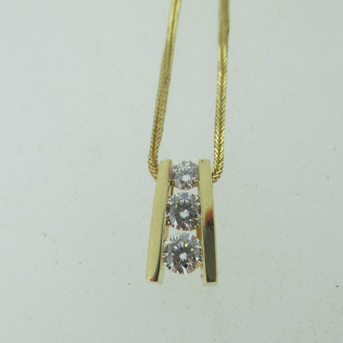 """14k Yellow Gold Approx .50ct TW Past Present and Future Diamond Pendant and Necklace 18"""""""