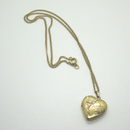 14K Yellow Gold Filled Heart Locket Necklace Signed R w Black Hills Gold Overlay