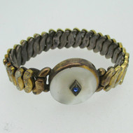 Vintage Gold Tone Sweetheart Expandable Round Mother Pearl Bracelet