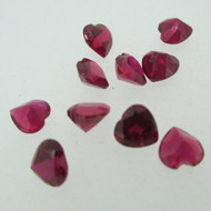 Lot of 10 Heart Shaped Created Ruby Loose Stones 5.9 X 6.1 mm