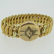 Vintage Gold Tone Etched Sweetheart Expandable Round Bracelet
