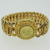 Vintage Gold Tone Signet Sweetheart Expandable Round Bracelet