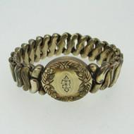 Vintage Etched Round Gold Tone Sweetheart Expandable Bracelet