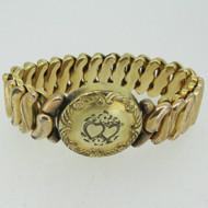 Vintage Etched Gold Tone Sweetheart Round Expandable Bracelet