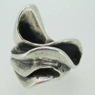 Sterling Silver Large Statement Fashion Wavy Ribbon Ring Size 8 1/2