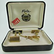 Vintage Foster Gold Tone Golf Club Tie-Bar and Swank Cufflinks with Original Box (B7659)