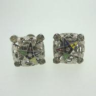 Vintage Masonic Ladies Silver Tone Ladies Order of the Eastern Star Screw Back Earrings