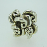 Sterling Silver Large Statement Swirl Flower Design Ring Size 11 1/4