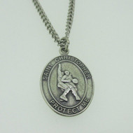 Sterling Silver Catholic Religious Miraculous Medal St. Christopher Basketball Necklace