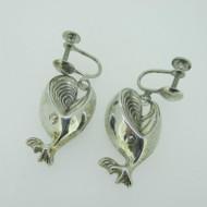 Sterling Silver Screw Back 3D Whale Earrings
