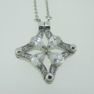 Sterling Silver Magnetic Convertible CZ Pear Cut Necklace
