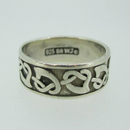 Sterling Silver Irish Celtic Heart Knot Band Ring Size 8