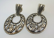 Carolyn Pollack Sterling Silver Dangle Earrings with Filigree Design.