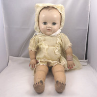 Vintage 1940s Ideal Plassie Baby Doll Composition Head Latex Magic Skin Clothed