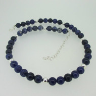 Blue Sodalite Bead Necklace with Sterling Silver Clasp